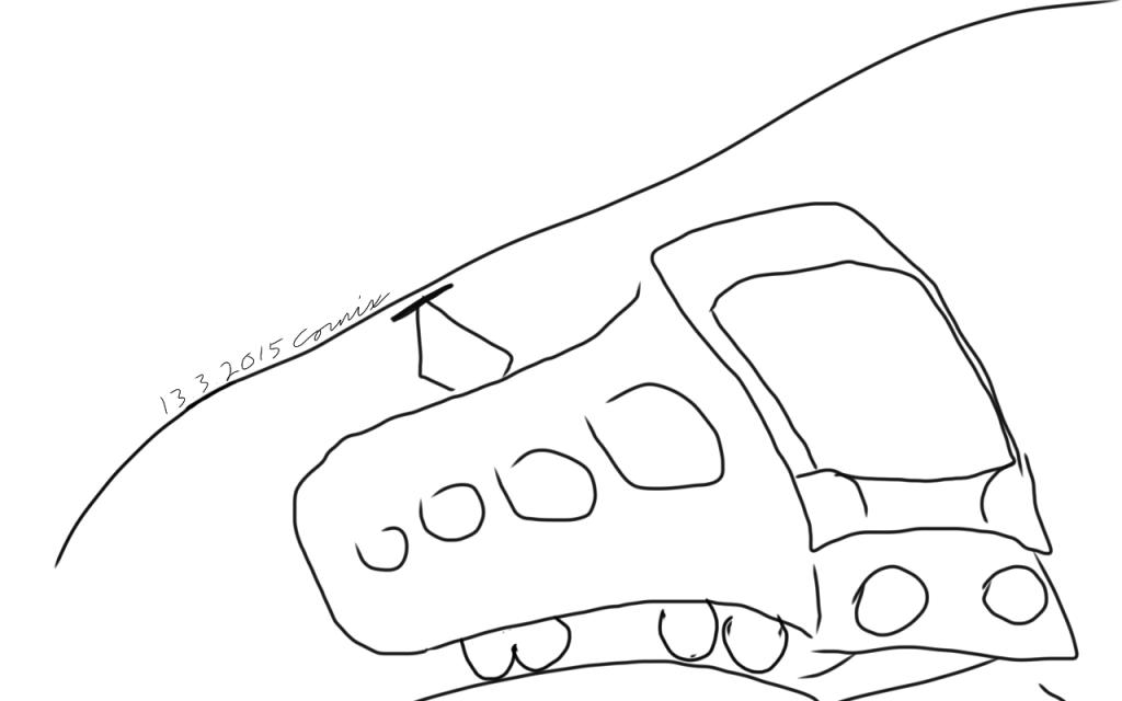 Ääriviivoilla piirretty sähköjuna/veturivaunu, joka saapuu kohti.