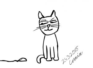 Istuva kissa, joka vilkuilee epäileväisesti tietokonehiirtä