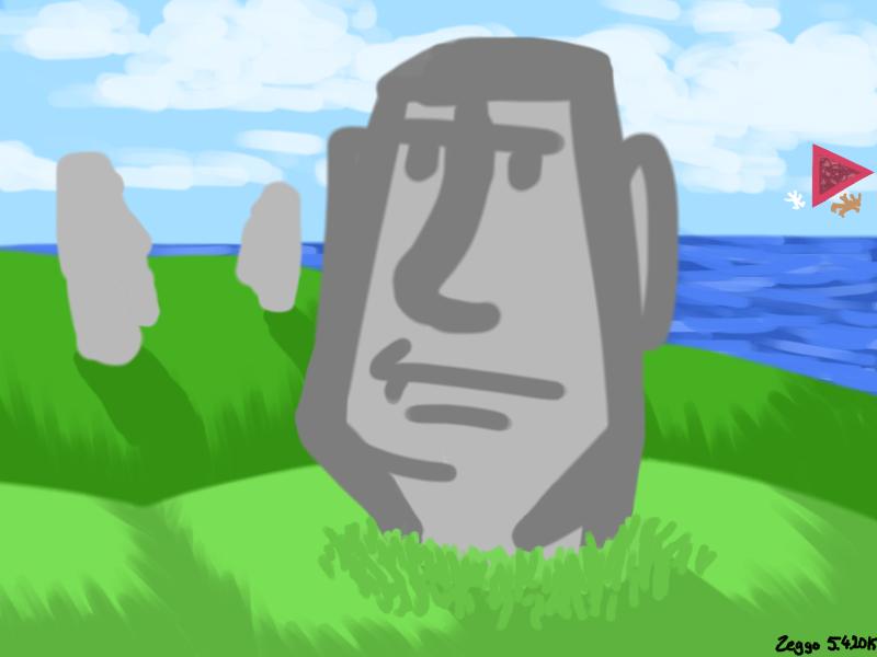 kivipäitä saarella, kaukana punainen kolmio ja kaksi hahmoa putoamassa mereen