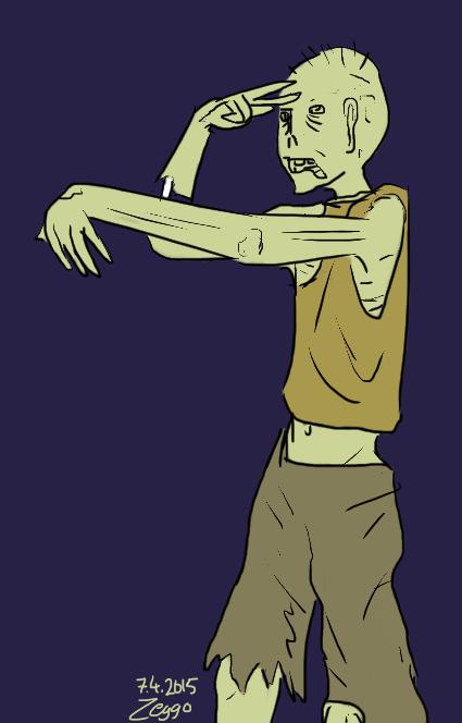 zombie toinen käsi ojossa ja toinen kasvoilla