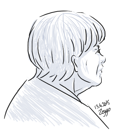 Vanha nainen takaviistosta