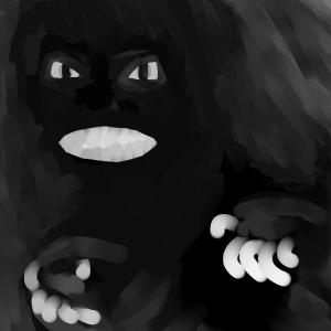 pimeä uhkaava otus