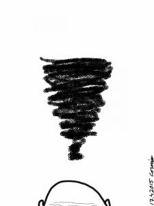 Alareunassa kalju pää ja sen yläpuolella musta pyörremyrskypilvi