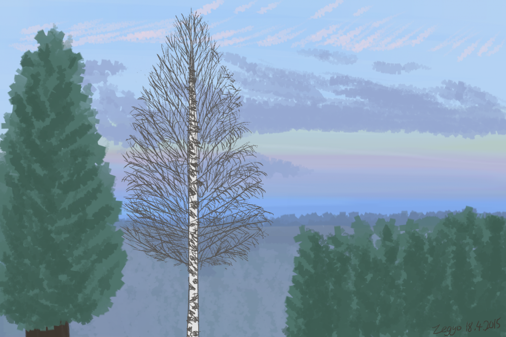 Maisema, jossa metsää, etualalla koivu ja havupuu, taivaalla eri värejä ja pilviä