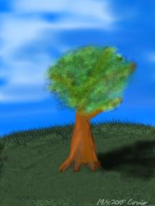 Vihreä nurmikko, keskellä yksittäinen paksurunkoinen lehtipuu, jossa vihreät lehdet. Taivas on sinivalkoinen.