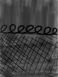 Tummansävyinen maalaus, jonka edustalla musta piikkilankainen aita