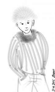 pörröpäinen nuori mies raitapaidassa ja pörrökauluksessa