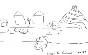 Tikku-ukko juokseee kiinni bussia. Oikeassa laidassa vuori, jonka päällä sijaitsevalle talolle menee pitkä spiraalimainen tie.