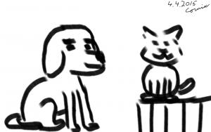 luppakorvainen koira istuu, vieressä aidalla istuva kissa.