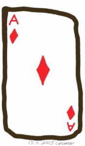 Pelikortti ruutuässä. Paksu musta ääriviiva ja punaisella A-merkinnät ja timanttikuviot.
