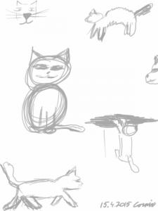 Kissan naama, köyristynyt kissa, istuva kissa, reunalta etutassuilla roikkuva kissa ja kävelevä kissa sivulta päin kuvattuna.