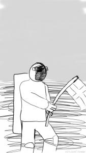 Avaruuskävelijä planeetan/kuun pinnalla ristilippu kädessään.
