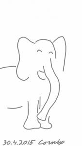 Piirrosmainen iloinen elefantti silmät ummessa suu naurussa.