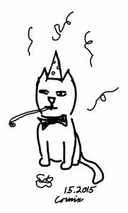 Istuva kissa juhlahattu päässä, rusetti kaulassa puhaltamassa vappupilliin. Taustalla sataa serpentiiniä.
