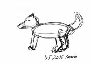 Neljällä jalalla seisova koirahahmotelma. Näkyvissä piirtämisen apuympyröitä.