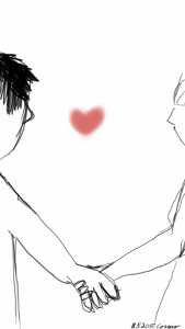 Mies- ja naishahmot pitämässä käsiä yhdessä. Välissä yksittäinen punainen sydän.