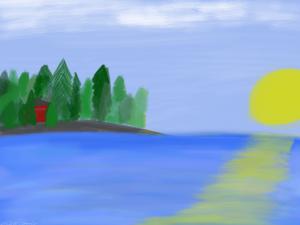 Havupuinen saari keskellä vettä. Auringonlaskusta muodostuu valosilta veteen.