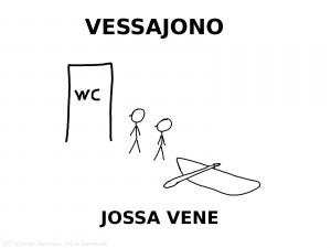 """ylhäällä teksti """"VESSAJONO"""", keskellä kuva, jossa kaksi ihmistä ja vene WC:n oven edustalla, alhaalla teksti """"JOSSA VENE"""""""